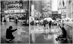 Osaka - Sennichimae - Dotonbori (-dow-) Tags: 大阪 日本 sennichimae osaka dotonbori giappone japan pioggia rain ombrelli umbrella monochrome fujifilm x70