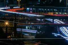 tangled traffic (pbo31) Tags: somisspo bayarea california nikon d810 color february 2019 boury pbo31 night dark black city urban sanfrancisco lightstream traffic motion roadway ramp highway potrerohill 101 80 over