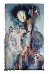 The Musician II (jimlaskowicz) Tags: jimlaskowicz cello dream artistic textures surreal art impressionistic painterly musician notes musical instrument