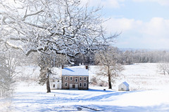 Winter Scenes (Jen_Vee) Tags: valleyforge trees house winter weather seasons snow cold historic stone springhouse colonial meadow building driveway tree vignette view hill visit home stephens huntington quarters