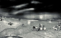 B&W View: Beach Time (Ori Liber) Tags: smooth shore shoreline shadows gray overview panorama israel water summer sunrise sunset daylight dark people beachview beach seaview sea artistic chromo blackandwhite