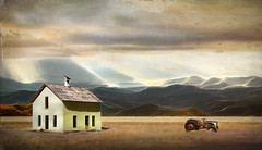 Wide Open Spces (jarr1520) Tags: landscape outdoor sky clouds lightrays mountains hills composite textured farmland fields trees grasses tractor farmhouse abandoned