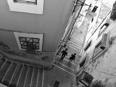 Alfama Steps (Douguerreotype) Tags: people lisbon monochrome blackandwhite lisboa buildings street mono stairs city portugal urban bw steps