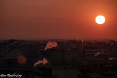 Urban sunrise, today (Gian Floridia) Tags: milan aurora camini chimneys cittadino fumo nascente pennacchi plumes roofs smoke sole steamy sunrise tetti urban