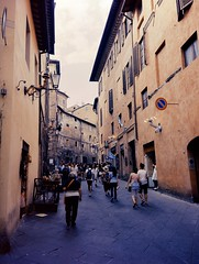 Siena - Alley (Fuji Pro 160VC) (tjshot) Tags: analog print film stock fuji fujifilm 160vc develop home self c41 vivid contrast mood color mediumformat 645 rangefinder ga645wi siena tuscany italy historical center town palio scan scanning stitch