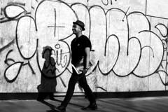The happy man (pascalcolin1) Tags: paris13 homme man mur wall happy heureux chapeau hat lumière light soleil sun ombre shadow tags photoderue streetview urbanarte noiretblanc blackandwhite photopascalcolin 50mm canon50mm canon