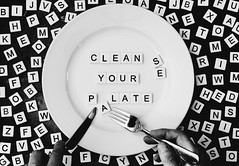 20190331 Clean Your Plate (lkaldeway) Tags: stilllife words monochromatic utensil blackandwhite monochrome alphabet knife photography abstract utensils fork wordplay plate foodforthought food