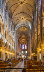 Inside Notre Dame, Paris (Peter.Stokes) Tags: buildings clouds colour colourphotography europe landscape landscapes panorama paris people photo photography railway sky spring transport vacations inside notredame architecture stainedglasswindow church