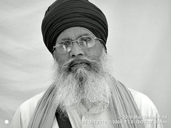 2018-10b Sikhism in Amritsar (39bw) (Matt Hahnewald) Tags: matthahnewaldphotography facingtheworld people character head face expression serious lookingcamera fullbeard dastar turban consent respect concept humanity living culture tradition religion religious traditional cultural gurdwara devotee worshiper pilgrim sikh sikhism goldentemple amritsar punjab india indian punjabi individual oneperson elderly man detail physiognomy nikond610 nikkorafs85mmf18g 85mm 4x3ratio resized 1200x900pixels horizontal street portrait closeup headshot fullfaceview mono blackandwhite monochrome greyscale postprocessing editing posing eyeglasses reflexion clarity quality