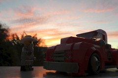 Sunglasses at Sunset (captain_joe) Tags: toy spielzeug 365toyproject lego minifigure minifig moc car auto 6wide ford zztop sunset sonnenuntergang himmel sky f1