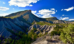 Perins Peak viewed from Hogsback Ridge, Durango, Colorado (GSB Photography) Tags: perins peak durango colorado america usa unitedstates americanwest mountain valley sunlight rocks trees foliage sky clouds ridge vista view badlands nature landscape nikon 7200 erosion forest aplusphoto gsb