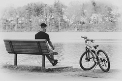 Saturday at the Pond (Explored) (lclower19) Tags: hornpond woburn massachusetts 119in2019 68 bench person bike relaxation explored