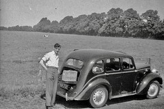 Man with his car (vintage ladies) Tags: vintage blackandwhite photograph photo man male car countryside field