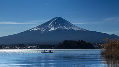 Rowing (Masa_N) Tags: bluesky lakeshore silhouette winter lakekawaguchi rowing boat lake yamanashi japan mtfuji 南都留郡 山梨県 日本 jp