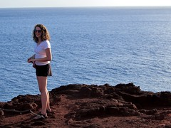 Deep blue sea (thomasgorman1) Tags: woman tourist cliff view smile smiling horizon island rocks sweetheart rock pacific ocean hawaii seascape lanai pose candid
