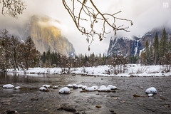 Merced River 2 (lycheng99) Tags: mercedriver river yosemite yosemitenationalpark yosemitevalley mountains snow winter trees waterfall bridalveil elcapitan halfdome fog cloud sun landscape nature travel explore