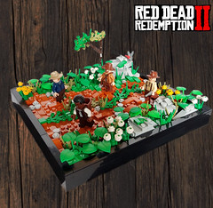 Red Dead Redemption 2 – The streets of Rhodes (KevFett2011) Tags: kevfett2011 lego art hobby photography bricks build building red dead redemption 2 ii landscape rocks plants flowers arthur morgan rhodes dark orange 2019 moc creation collab vignette afol