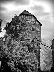 Wohnturm der Ganerbenburg Lichtenstein in den Haßbergen (Maquarius) Tags: ganerben burg lichtenstein turm fachwerk baum busch strauch hasberge unterfranken franken pfarrweisach ebern wohnturm