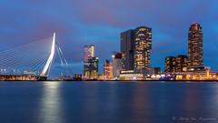 Rotterdam (vanregemoorter) Tags: city cityscape bluehour nederland holland building water eau bridge
