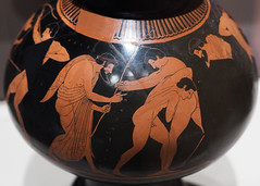 Athenian Red Figure psykter with pentathletes training in a palaistra (diffendale) Tags: 6thcbce late6thcbce 2ndhalf6thcbce 4thquarter6thcbce lastquarter6thcbce 510sbce archaic latearchaic redfigure athenianredfigure atticredfigure arf phintias athens athenian sports athletics athletes pentathlon pentathletes training trainer wrestling javelin palaistra palaestra male men pleiades:findspot=413373 orvieto volsinii velzna etruria etruscan psykter symposion fineware museum museo museu musée μουσείο музеи müze artifact display exhibit متحف ancient antico antique archaeological archeologico greek greco grecque اليونان ελληνικόσ italy italia wrestlers