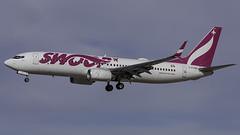C-FONK_LAS_Landing_26L (MAB757200) Tags: swoop b7378ct cfonk jon aircraft airplane airlines airport jetliner landing las klas boeing mccarran runway26l