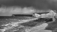 Rain Approaching Seven Sisters (marksmith0701) Tags: birling gap beachy head seven sisters bnw blackandwhite cliffs coast sea clouds rain storm beach