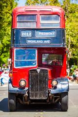 Big Old Bus to Explore (Thomas Hawk) Tags: america bayarea california eastbay londonbus piedmont piedmont4thofjulyparade piedmont4thofjulyparade2012 usa unitedstates unitedstatesofamerica westcoast bus doubledeckerbus parade aec regent fav10 fav25 onu638 fav50