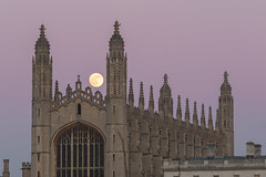 Moon over king's college chapel (Daniel Mortimer) Tags: kings college cambridge university chapel uk england dusk space astronomy moon canon canon7dmarkii telephoto tripod