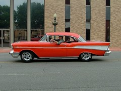 57 Chevy (jHc__johart) Tags: chevrolet 1957chevrolet oklahoma car vehicle auto automobile reflection building street people lightfixture