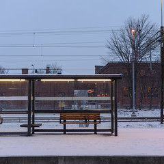 Snow, Bench, Trainstation (Mattias Lindgren) Tags: nikon d600 sweden 50mm f18 winter snow 50mmf18 nikond600