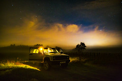 * The night stories * (Lotharn) Tags: night stories poland fog jeep cherokee clouds sky landscape