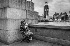 Riparian (Leanne Boulton) Tags: urban street candid streetphotography candidstreetphotography streetlife woman female lady sitting chair river thames westminster parliament southbank gull bird wall bigben tone texture detail depthoffield bokeh naturallight outdoor light shade city scene human life living humanity society culture lifestyle people canon canon5dmkiii 35mm ef2470mmf28liiusm black white blackwhite bw mono blackandwhite monochrome london england uk