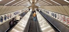 Monument Metro Station - Newcastle-Upon-Tyne (Gilli8888) Tags: newcastle newcastleupontyne cameraphone samsung s7 tyneandwear escalator geometry people steps