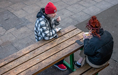 Conversation (+Pattycake+) Tags: streetphotography spring ©patriciawilden2019 red candid bench street people primelens norwich city 40mmprimelens uk norfolk canoneos70d