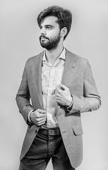 Guille  100319-8476 (Eduardo Estéllez) Tags: monochrome young adult man portrait standing one handsome person white male smiling beautiful attractive fashion view boy front beard people happy caucasian lifestyle hair happiness vertical caceres formal chico joven empresa retrato extremadura espaã±a estellez eduardoestellez