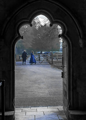 the girl in the blue cloak (Redheadwondering) Tags: 119picturesin2019 salisbury wiltshire canon40mmf28cheapadapter canon cathedral salisburycathedral church cloisters 75midnightblue 75 blue door doorway