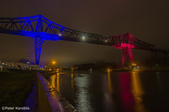 Kiel Canal / Rendsburg railway bridge (peterkaroblis) Tags: kielcanal nordostseekanal bridge brücke rot red blau blue wasser water nacht night lumen