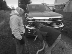 Problem solvers (clearbrook4) Tags: monochrome truck rope farm barn silverado chevrolet