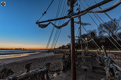 Waking with Pearl (alundisleyimages@gmail.com) Tags: theblackpearlnewbrighton wirral merseyside driftwood art beach liverpool masts ship morning dawn weather cold winter sand rivermersey port harbour promenade sails rigging rope city reflections vista nikon d750 manfrotto pirates corsairs swashbuckling keepourbeachesclean flags bunting