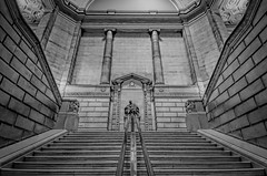 """""""Grand Staircase at the Library"""" (Photography by Sharon Farrell) Tags: library freelibraryofphiladelphia grandstaircase stepsandstairs stairscape stairscapes blackandwhite bw cityofphiladelphia philly philadelphia greatarchitecture phillyarchitecture williampepper marblestaircase parkwaycentrallibrary logansquare julianfabelearchitect"""