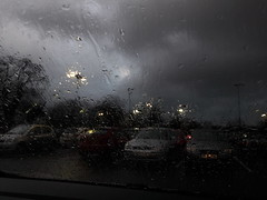 English Weather (cycle.nut66) Tags: english british weather rain wet cloudy dark car park reading lights trees blustery cold cars windscreen water samsung galxy a3 cameraphone