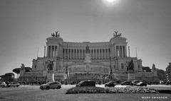 Vittorio Emanuele II Monument, Rome (mswan777) Tags: cityscape white black monochrome architecture building urban history mobile iphone iphoneography apple italy rome world travel sky carved column outdoor memorial sculpture stone