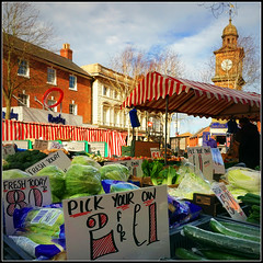 Pick Your Own (Jason 87030) Tags: pickyourown pound bowl freshtoday goods produce fruit vegetables market town rugby warks warwockshire stripes central shopping food clock tower uk england lettuce wet cucumber pakchoi salad