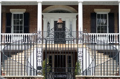 Ironwork, the Robert Martin House, 16 Charlotte Street, Charleston, SC (Spencer Means) Tags: architecture building house staircase stairs iron gate fence overthrow lamp lantern facade door window porch piazza entrance 16 charlotte street charleston sc southcarolina