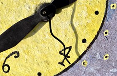 Four Shadow (Cathy de Moll) Tags: clock time four six art yellow purple hours seconds macro macromondays timepieces