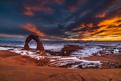 Delicate (kephart_kyle) Tags: 2015 arch arches beautiful december landscape national park snow sunset utah winter