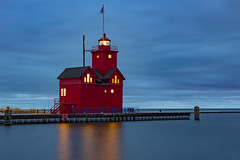 Big Red - Lit (Notkalvin) Tags: bigred hollandharborlight hollandstatepark holland michigan lakemichigan longexposure lighthouse night eater reflection notkalvin red color smooth mikekline outdoors nopeople reflect lit navigation shore
