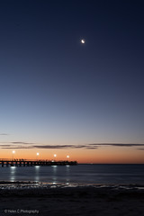 Semaphore Adelaide SA (Helen C Photography) Tags: semaphore adelaide australia beach ocean summer evening sunset water orange silhouette seascape moon jetty pier