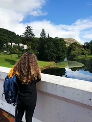OSDL1010 (idefleunam) Tags: park sky clouds green nature trees girl curly hair blonde lake bridge uk scotland fall autumn stirling university