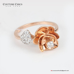 Natural 0.23 Ct. Diamond Pave Cocktail Flower Design Ring Solid 14K Rose Gold Mother Fine Jewelry (couturechics.facebook1) Tags: natural 023 ct diamond pave cocktail flower design ring solid 14k rose gold mother fine jewelry